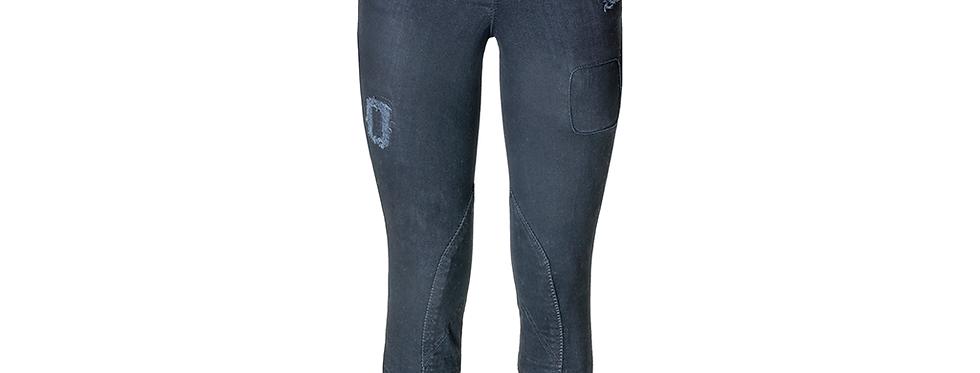 Rijbroek Flame Black Jeans knee patch