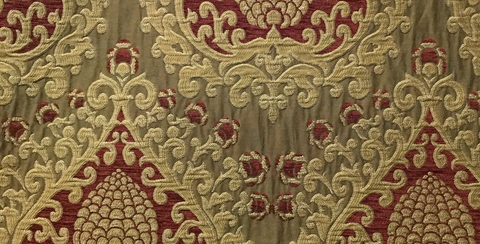 Red Gold Damask - Woven
