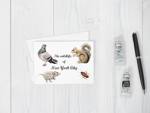 Wildlife of NYC Greeting Card Funny New York Cute