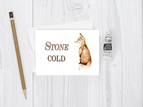 Stone Cold Fox Watercolor Greeting Card