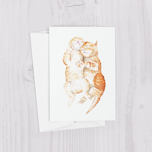Cuddling Ginger Cats Watercolor Greeting Card
