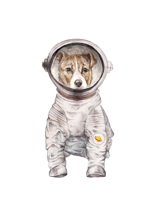 Laika the Space Dog Astronaut Ltd Ed Print Watercolor choose from 2