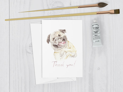Pug Thank You Greeting Card Funny silly dog