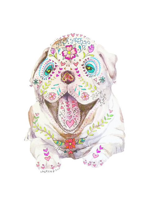 Sugar Skull Dog or Cat of your choice: Mixed media dia de los muertos