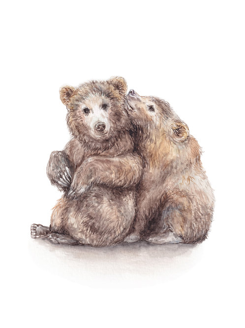 Grizzly Bear Cubs Limited Edition Print 8.5x11 Watercolor