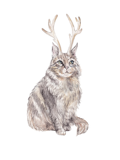 Catalope: cat jackalope Limited Edition Print 8.5x11 Watercolor