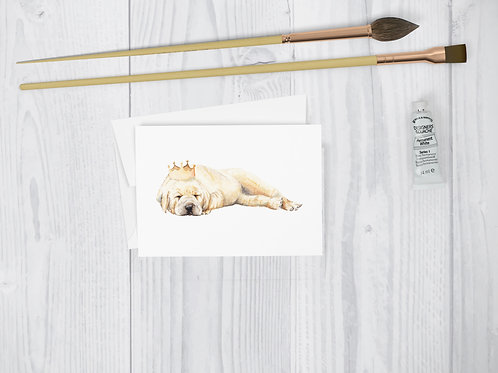 Watercolor Puppy Crown Greeting Card Cute dog