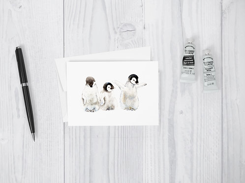 Three Penguin Chicks Greeting Card