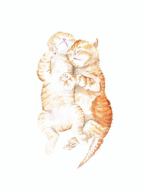 Ginger Tabby Kittens Cuddling Ltd Ed Print Watercolor
