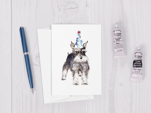 Watercolor Birthday Schnauzer Greeting Card cute quirky