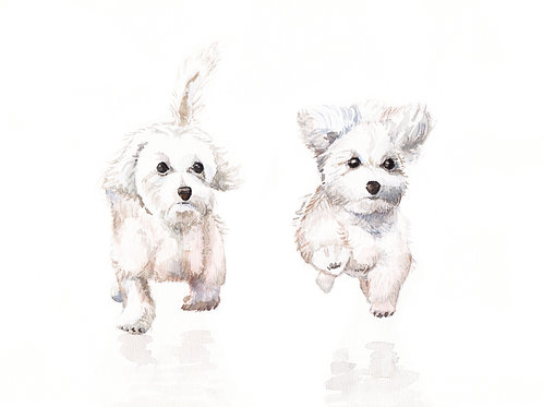 Running Pups Ltd Ed Print Watercolor Print