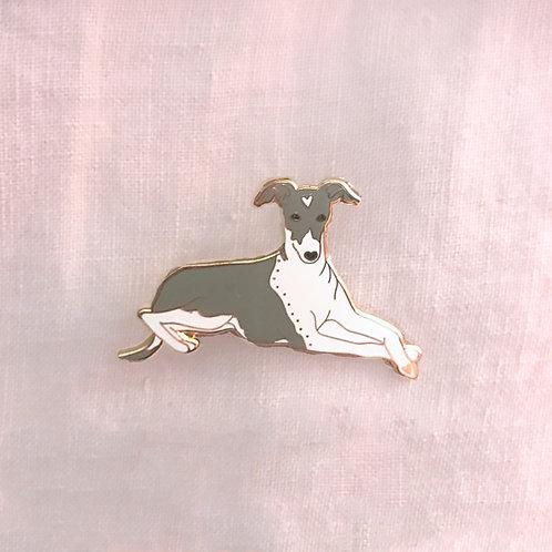 Italian Greyhound Puppy Dog 1.5 Inch Enamel Iggy Pin