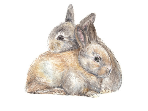 Snuggling Bunnies Limited Edition Print 8.5x11 Watercolor