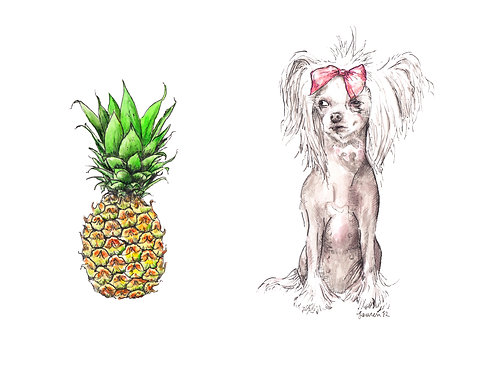 Chinese Crested Dog and Pineapple Limited Edition Print Watercolor