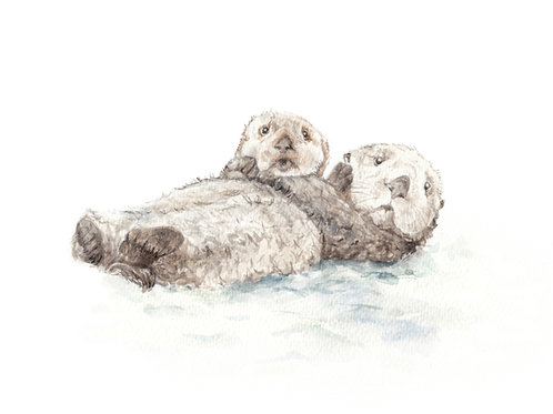 Otter Friends Limited Edition Print 8.5x11 Watercolor Cute Sea Nautical Wall art
