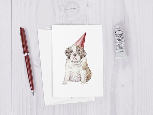 Watercolor Birthday Bulldog Greeting Card - Cute puppy portrait