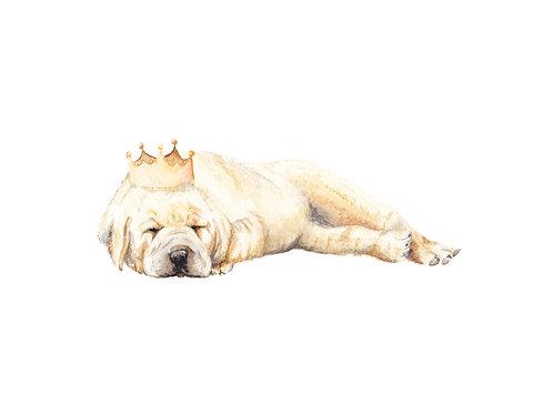 King of the Nap Yellow Lab Ltd Ed Print Watercolor