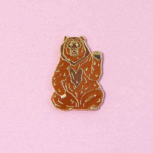 Bruno the Brown Bear 1.5 Inch Enamel Animal Pin