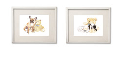 two frames white side by side teddies