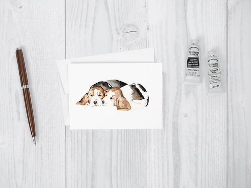 Watercolor Beagle Puppies Greeting Card - all occasion