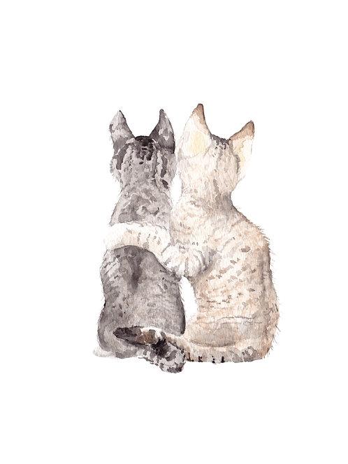 Cat Best Friends Ltd Ed Print Watercolor