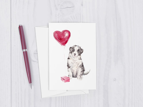 Puppy Love Balloon Cute Dog Greeting Card
