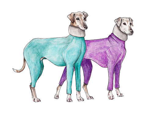 Greyhound dogs in Sweaters Winter Ltd Ed Print Watercolor