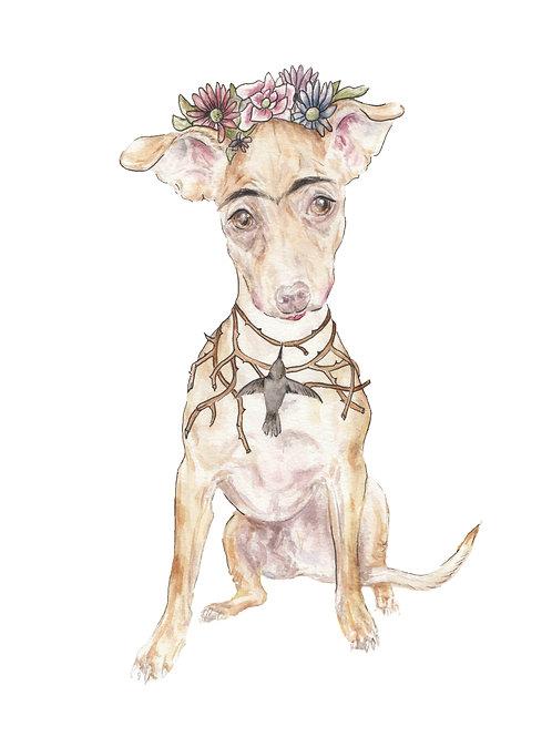 Frida Kahlo Dog Thorn and Flower Crown Ltd Ed Print Watercolor
