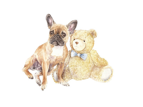 Frenchie and Teddy Ltd Edition 8.5 x 11 Print Watercolor