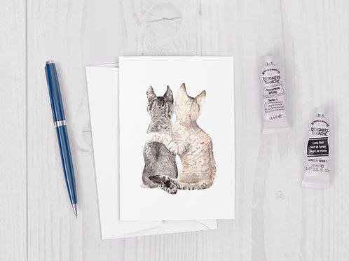 Cat Best Friends Watercolor Greeting Card Cute couple love card