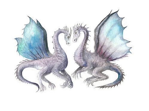 Dragons Fantasy SciFi Purple and Blue Print 8.5x11 Watercolor