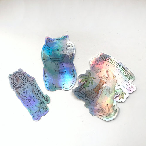Holographic Die Cut Vinyl Stickers - Dino, Lucky Cat and Tiger