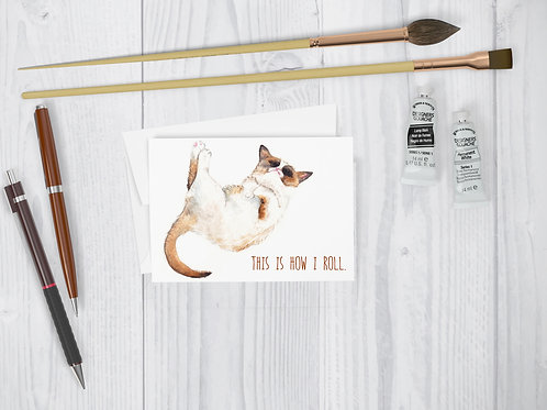 "Greeting Card: Cool Kitten, ""This is how I roll"" pun quirky funny cat card"