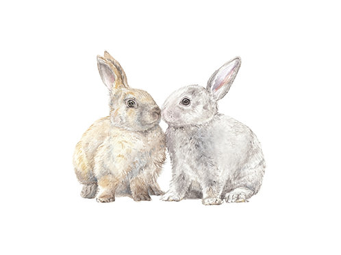 Kissing Bunnies Limited Edition Print 8.5x11 Watercolor