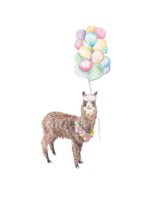 Colorful Alpaca Llama with Balloons India Morocco