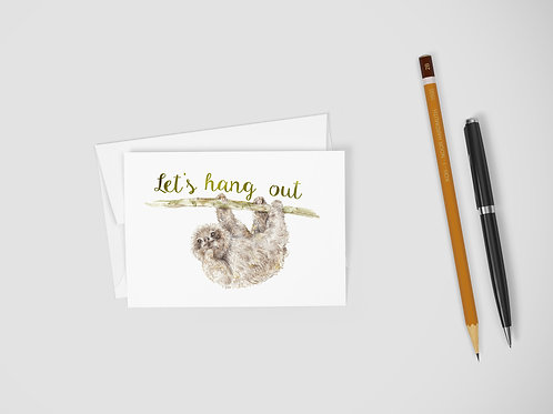 Sloth Let's Hang Out Cute Funny Greeting Card Cute Love Couples