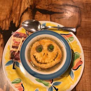 Spooky Chicken Pot Pie Soup