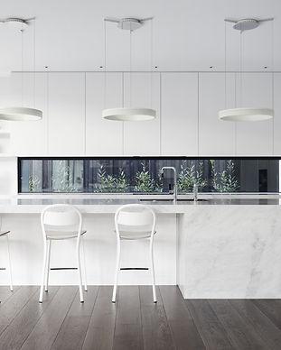 White-Marble-Island-Kitchen-Dark-Wood-Fl