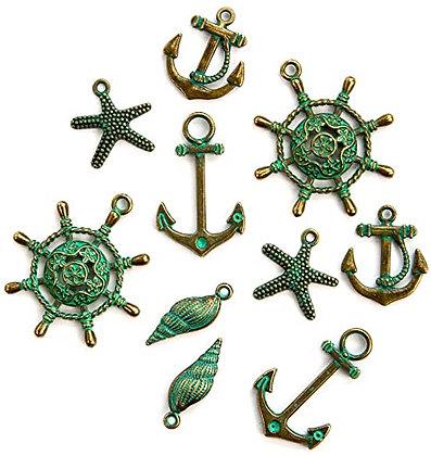 Sea washed Metal trinkets - Adornos de metal marinos
