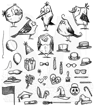 Sellos Mini birds crazy & things