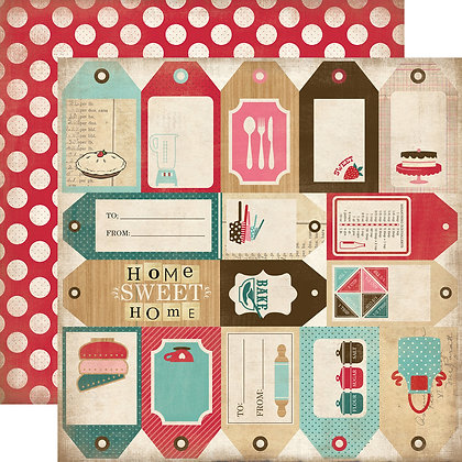 Hoja 12 x 12 - Home sweet home - Baking tags
