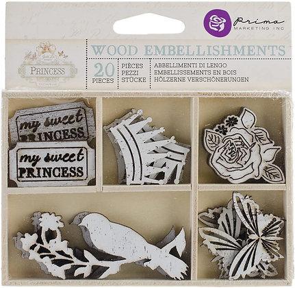 Chipboard de madera - Embellishment de madera - Princess