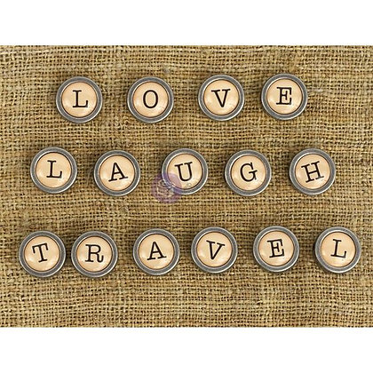 Mechanicals Metal Embellishments Love, Travel and Laugh