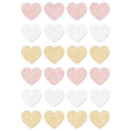 Santa baby - Stickers de corazones con brillantina