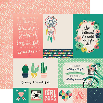 Hoja 12 x 12 - Just be you - 4x6 journaling cards