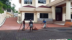 A driveway covered in Streetprint and Streetbond by Omera Construction in Brunei