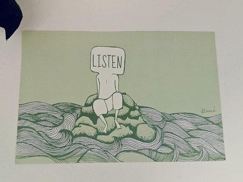 LISTEN - Green Post Cards