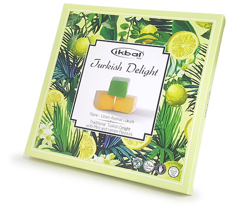 ikbal Traditional Turkish Delight with Mint and Lemon 400g