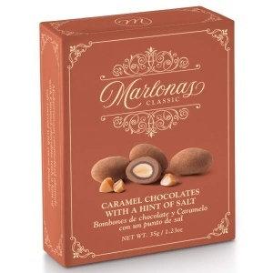 Mi Cu Marlonas Caramel Chocolate Coated Almonds 35g Pocket Box