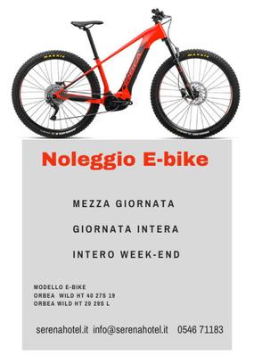 Noleggio e-bike riservato per i clienti del hotel.